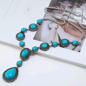 BOHO Blue Stone Statement Necklace